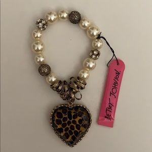 Betsey Johnson Leopard Print Heart Charm Bracelet